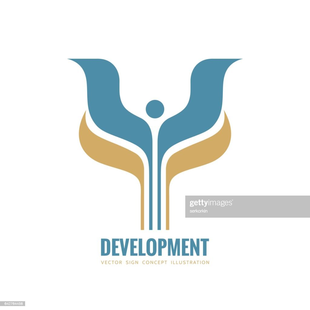 Development - vector logo template concept illustration. Abstract stylized human with wings and leaves creative sign. Design element.