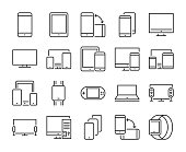 Device icon. Electronic and devices line icons set. Editable stroke. Pixel Perfect.