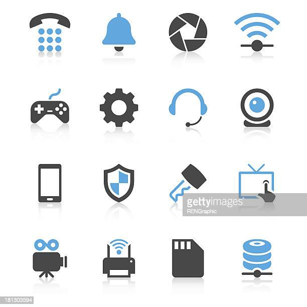 device icon set | concise series - webcam media apparaat stock illustrations