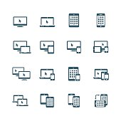 Device icon set - smartphone, tablet, laptop and desktop computers
