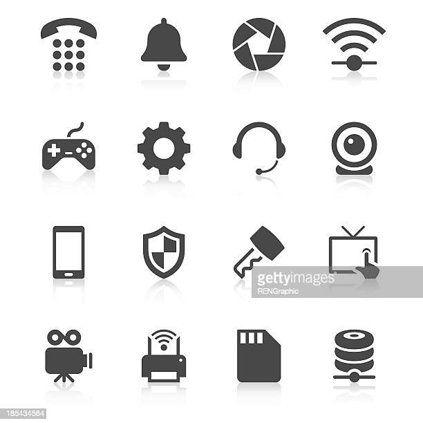 device icon set | unique series - webcam media apparaat stock illustrations