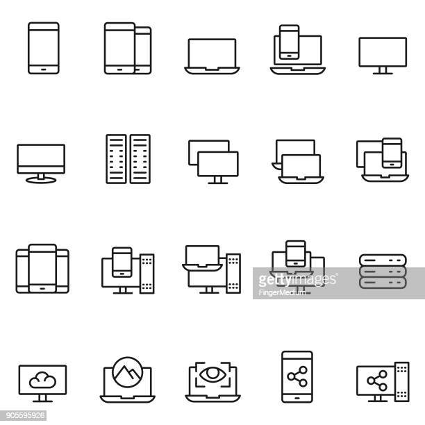 stockillustraties, clipart, cartoons en iconen met pictogram apparaatset - apparatuur