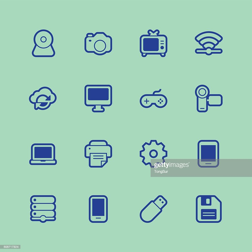 Device Icons Regular Outline Color Vector Art | Getty Images