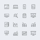 Devices and objects with charts and graphs icon set in thin line style