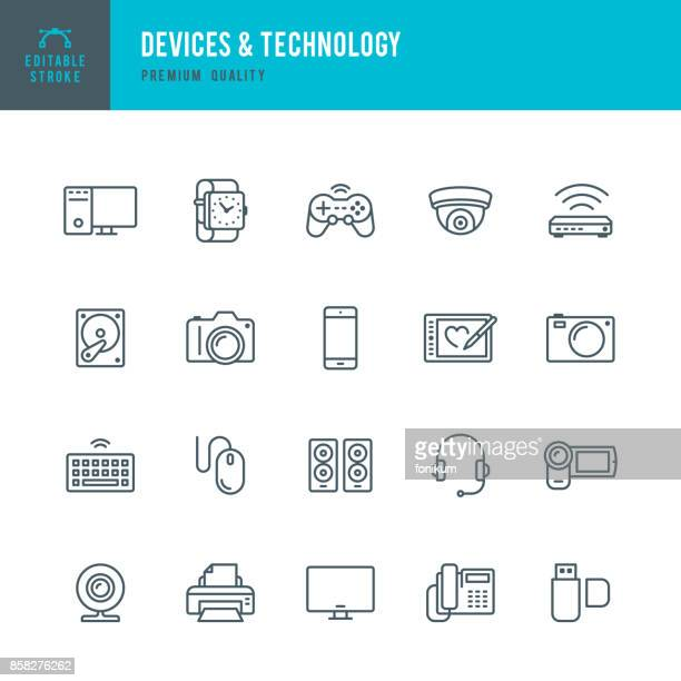 devices and technology - thin line icon set - computer part stock illustrations