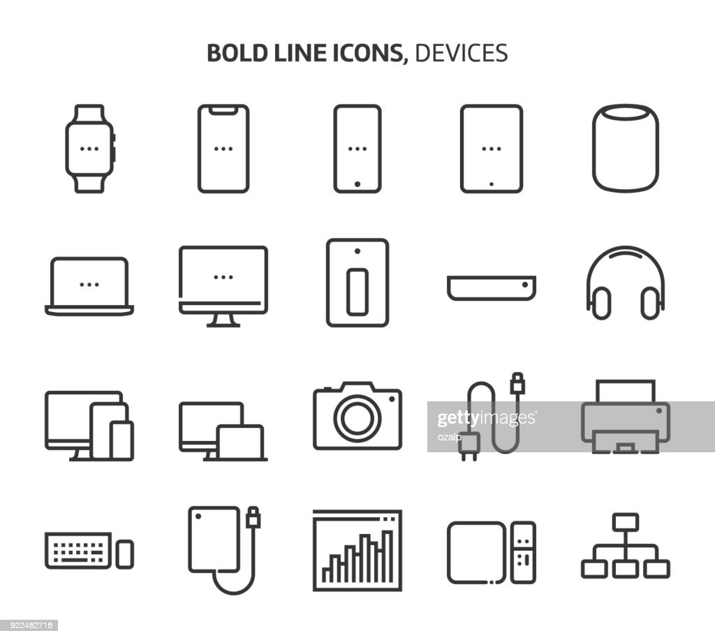 Devices, bold line icons