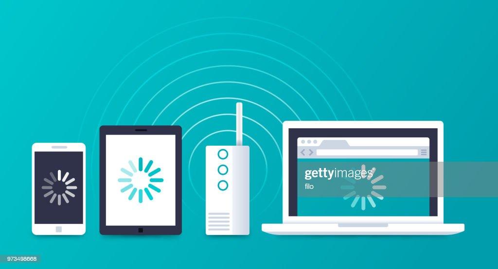 インターネット接続の WIFI デバイス : ストックイラストレーション