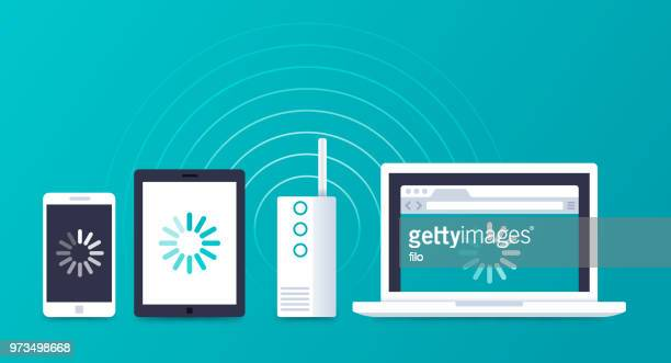 wifi devices connecting internet - loading stock illustrations