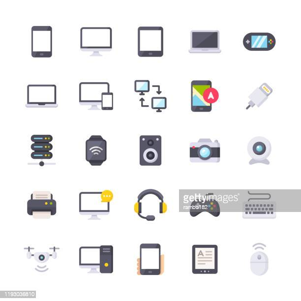 devices flat icons. material design icons. pixel perfect. for mobile and web. contains such icons as smartphone, smartwatch, gaming, computer network, printer, laptop, pc, camera, keyboard. - computer part stock illustrations