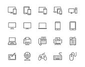 Devices flat line icons set. Pc, laptop, computer, smartphone, desktop, office copy machine vector illustrations. Outline minimal signs for electronic store. Pixel perfect 64x64. Editable Strokes