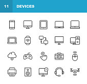 Devices Line Icons. Editable Stroke. Pixel Perfect. For Mobile and Web. Contains such icons as Smartphone, Printer, Smart Watch, Gaming, Drone.