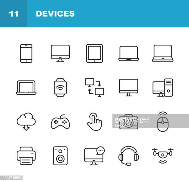 devices line icons. editable stroke. pixel perfect. for mobile and web. contains such icons as smartphone, printer, smart watch, gaming, drone. - icon set stock illustrations