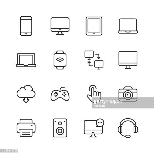 devices line icons. editable stroke. pixel perfect. for mobile and web. contains such icons as smartphone, smartwatch, gaming, computer network, printer. - movie camera stock illustrations