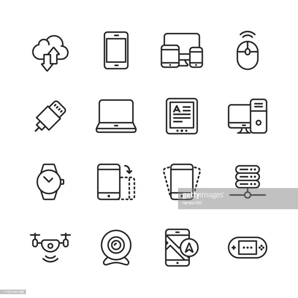 デバイスラインアイコン。編集可能なストローク。ピクセルパーフェクト。モバイルとウェブのために。スマートフォン、スマートウォッチ、ゲーム、コンピュータネットワーク、電子ブッ� : ストックイラストレーション