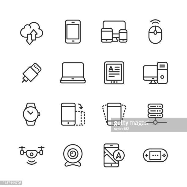 devices line icons. editable stroke. pixel perfect. for mobile and web. contains such icons as smartphone, smartwatch, gaming, computer network, ebook reader. - electronics industry stock illustrations
