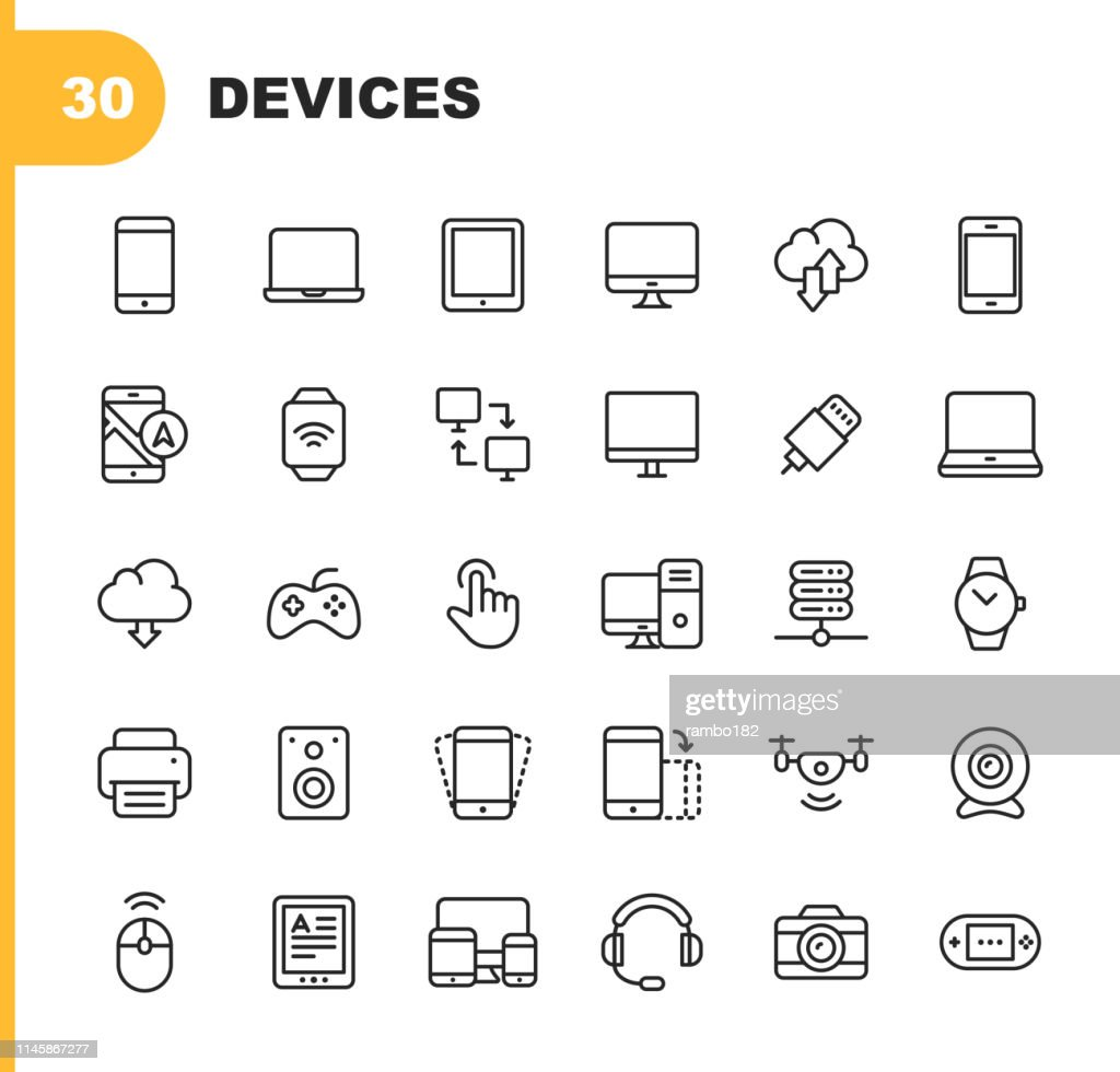 Devices Line Icons. Editable Stroke. Pixel Perfect. For Mobile and Web. Contains such icons as Smartphone, Smartwatch, Gaming, Computer Network, Printer. : Stock Illustration
