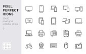 Devices line icons set. Computer, laptop, mobile phone, fax, scanner, smartphone minimal vector illustrations. Simple flat outline sign for web, technology app. 30x30 Pixel Perfect. Editable Strokes
