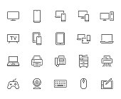 Devices line icons set. Computer, laptop, mobile phone, fax, scanner, smartphone minimal vector illustrations. Simple flat outline sign for web, technology app. Pixel Perfect. Editable Strokes