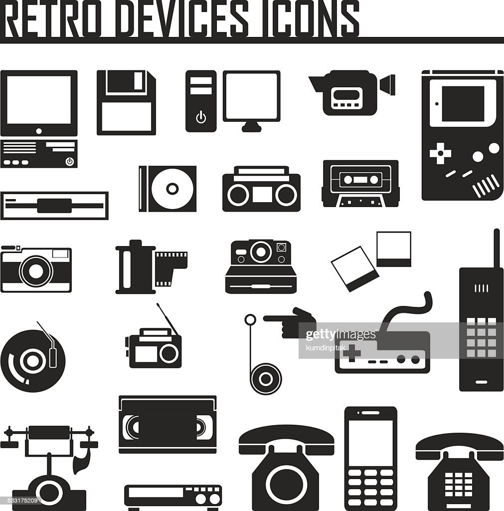 Devices retro old set icon vector illustration