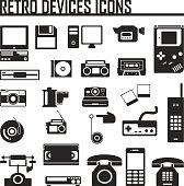 Devices retro old set icon vector illustration
