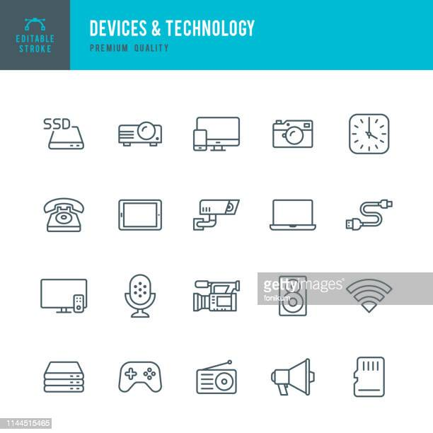 devices & technology - set of thin line vector icons - security camera stock illustrations