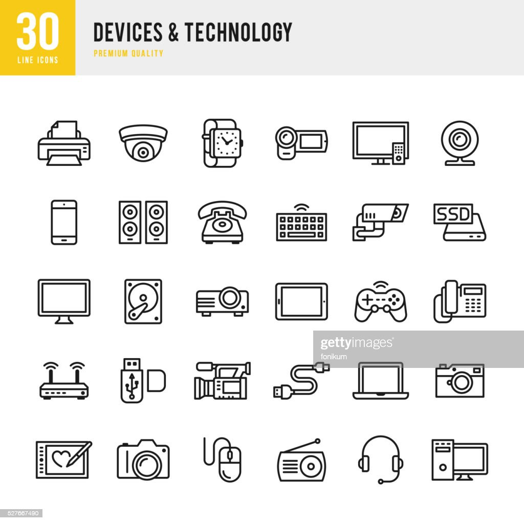 Devices & Technology - Thin Line Icon Set : stock illustration