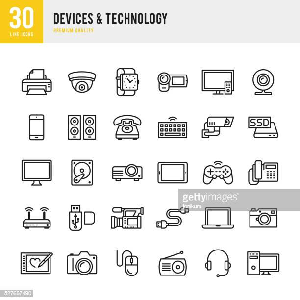 devices & technology - thin line icon set - video camera stock illustrations, clip art, cartoons, & icons