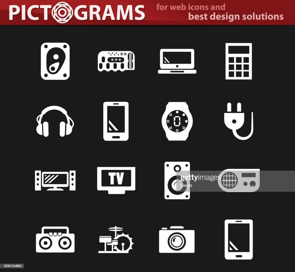 Devices white icons set