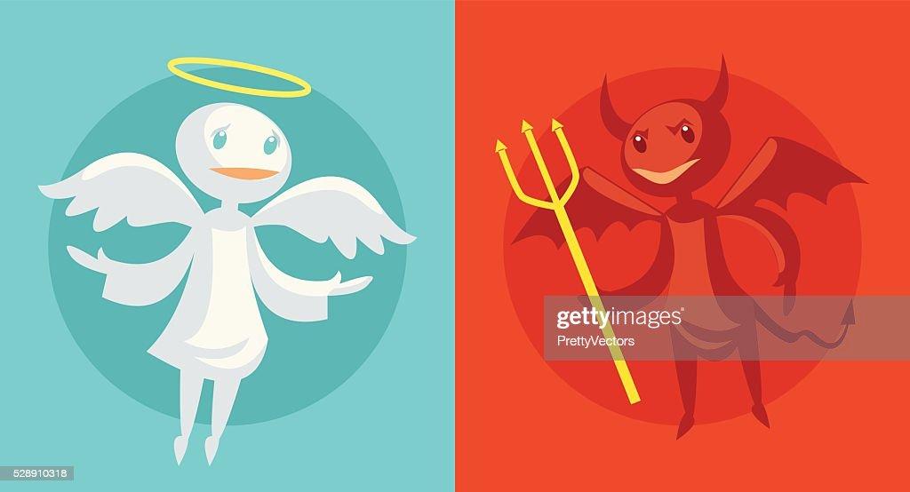 Devil and angel. Vector flat cartoon illustration