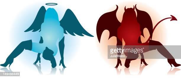Devil & Angel Baby Silhouetten