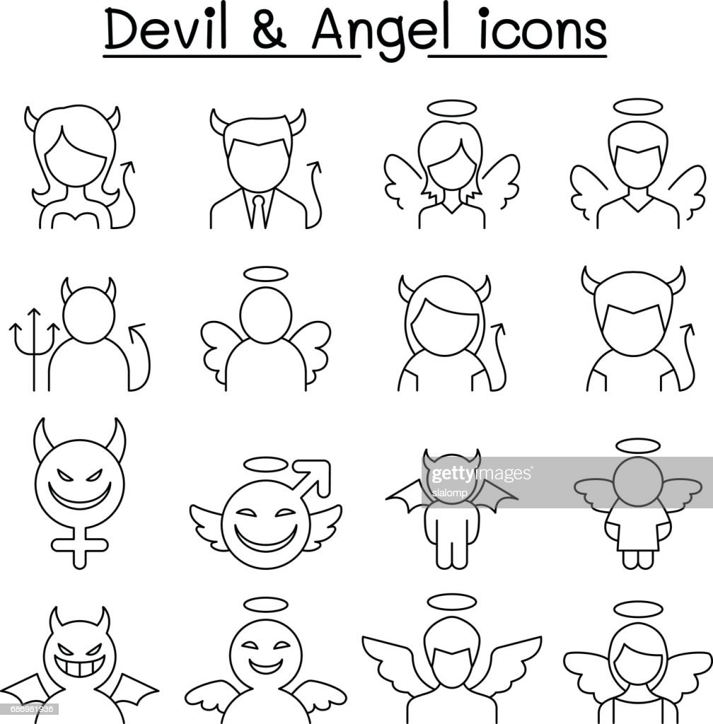 Devil & Angel icon set in thin line style