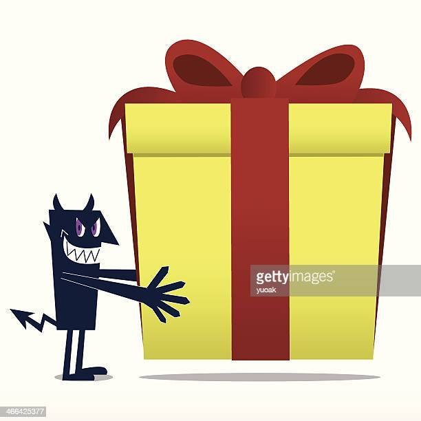 devil carrying a gift - sneering stock illustrations, clip art, cartoons, & icons