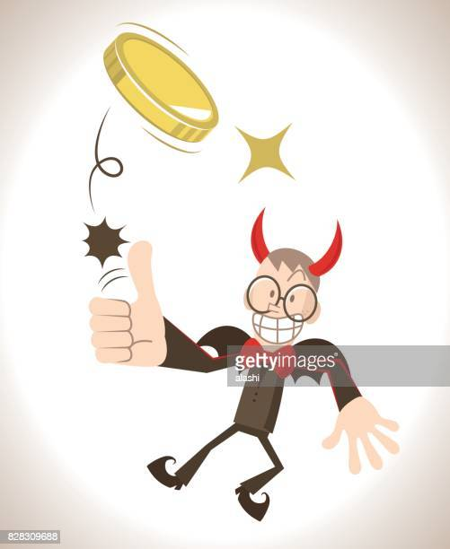 devil flying flipping a coin (toss up gold currency), thumbs up gesturing - flipping a coin stock illustrations, clip art, cartoons, & icons