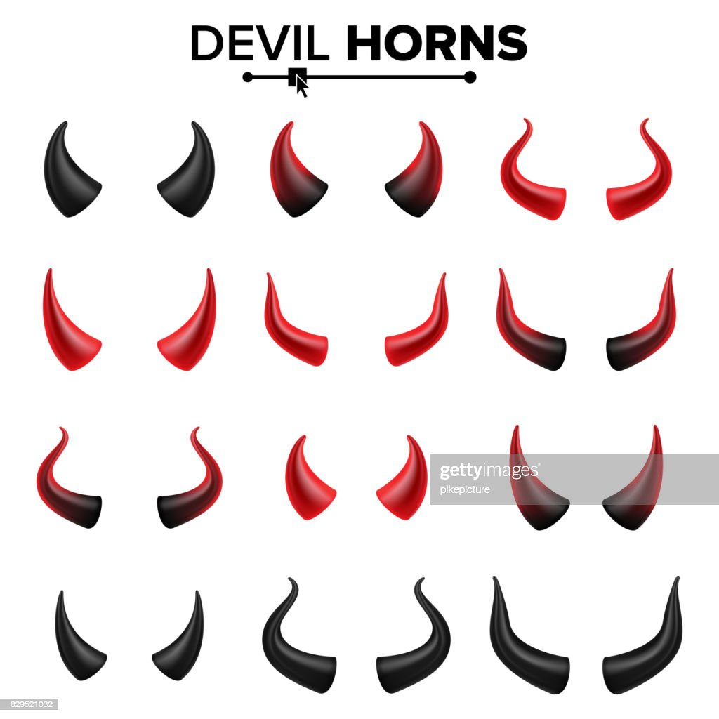 Devil Horns Set Vector. Good For Halloween Party. Satan Horns Symbol Isolated Illustration