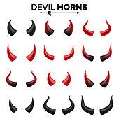 Devil Horns Set Vector. Good For Halloween Party. Satan Horns Symbol Isolated Illustration