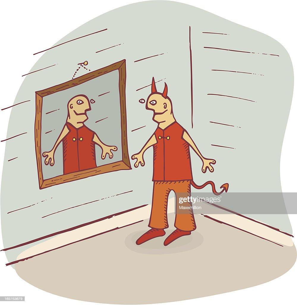 Devil Looking in Mirror
