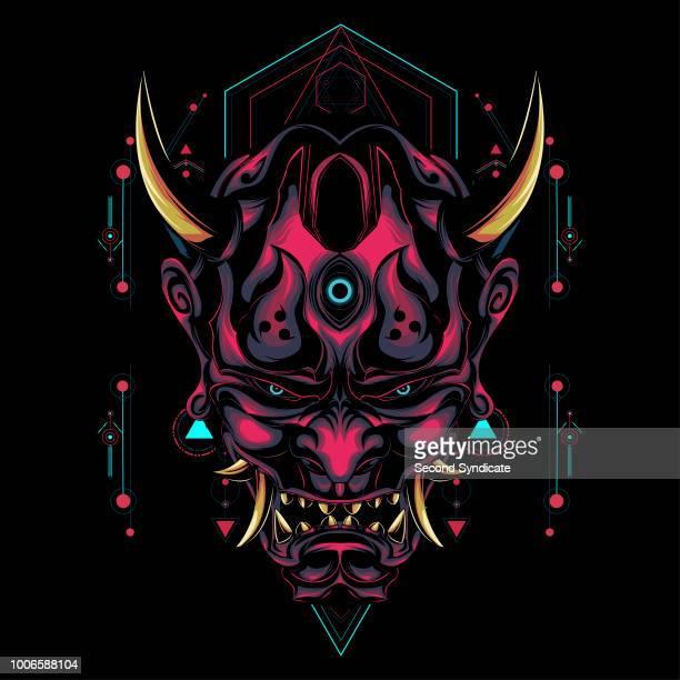 ilustrações, clipart, desenhos animados e ícones de ilustração de máscara diabo - arte, cultura e espetáculo