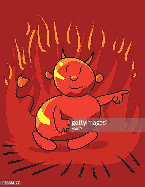 devil pointing - wrong way stock illustrations, clip art, cartoons, & icons