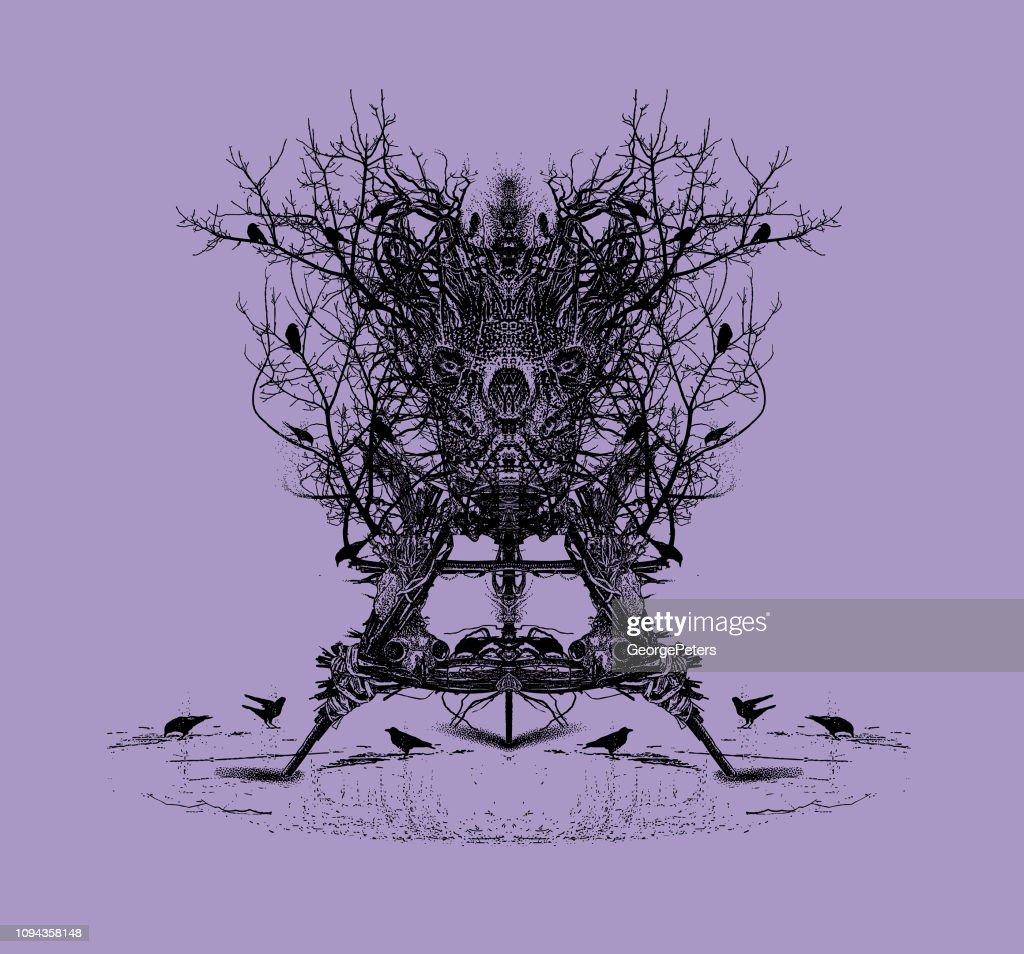 Devil Trap Voodoo Doll with ravens and skulls : stock illustration