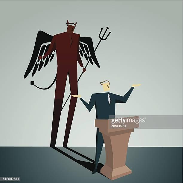 devil - office politics stock illustrations, clip art, cartoons, & icons