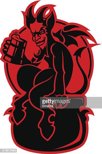 devil with a mug of beer - devil stock illustrations