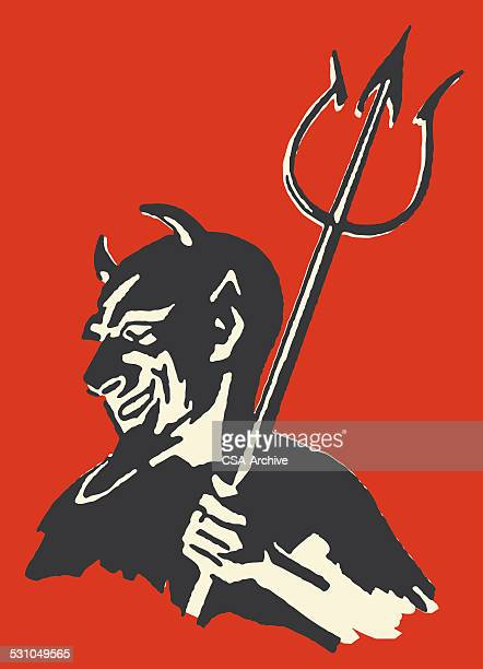 devil with pitchfork - devil stock illustrations