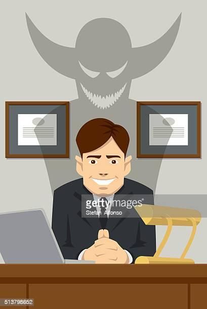 Teuflische Chef sitzt hinter dem Schreibtisch