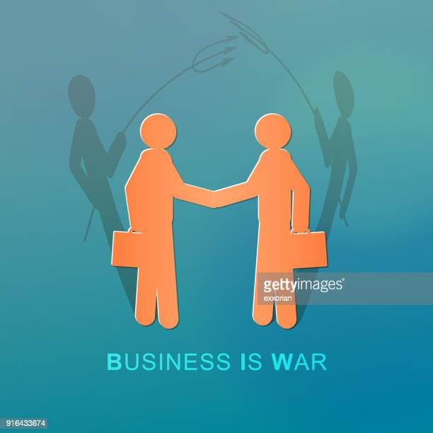 devilish business people handshaking - office politics stock illustrations, clip art, cartoons, & icons