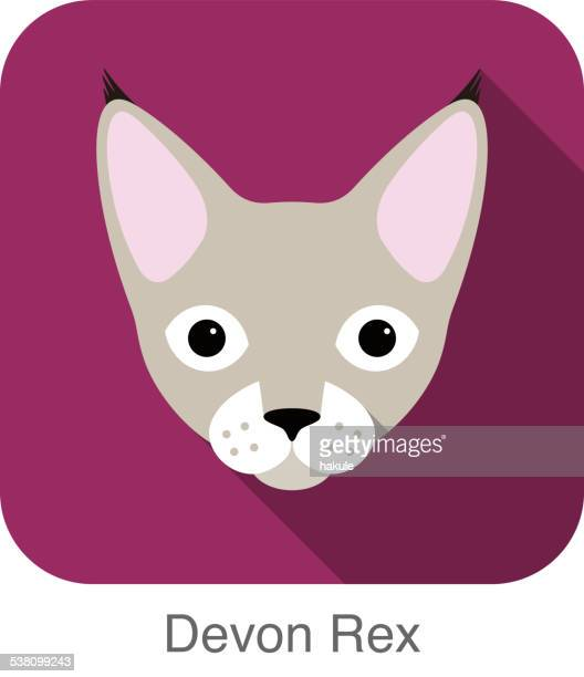 Devon Rex, Cat breed face cartoon flat icon design