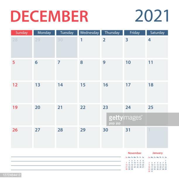 2021 dexember calendar planner vector template. week starts on sunday - december stock illustrations