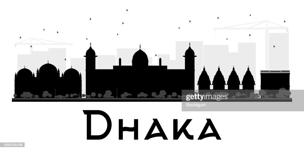 Dhaka City skyline black and white silhouette.