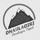Dhaulagiri in Himalayas, Nepal outdoor adventure logo.