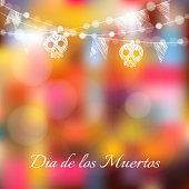 Dia de los muertos, Halloween card, with lights, sculls, flags