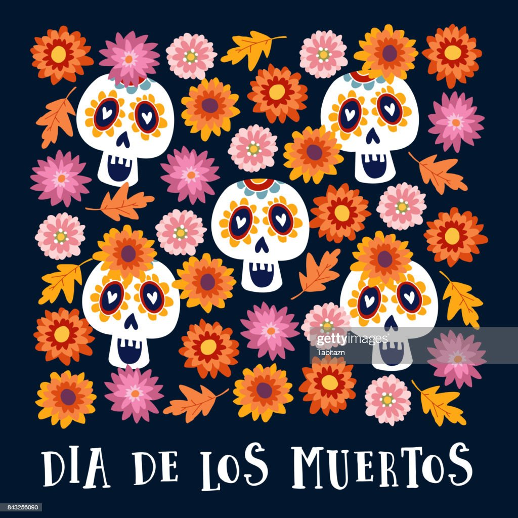 Dia de los Muertos or Halloween greeting card, invitation. Mexican Day of the Dead. Decorative Calavera catrina skulls and colorful autumn leaves and flowers. Hand drawn vector background, pattern
